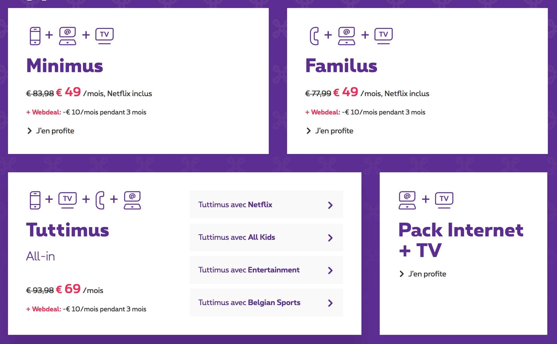 pack internet tv proximus promo